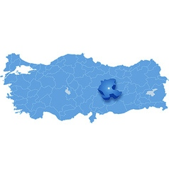 Map of turkey malatya vector