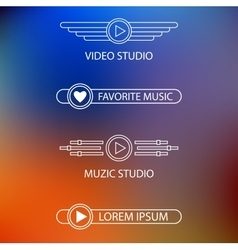 Template of a logo of a muzic and video of studio vector