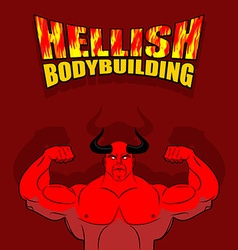 Hellish bodybuilding satan with big muscles vector