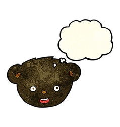 Cartoon black bear face with thought bubble vector