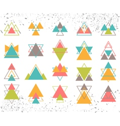 Set of colored geometric shapes triangles lines vector