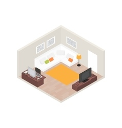 Isometric room interior with computer and vector