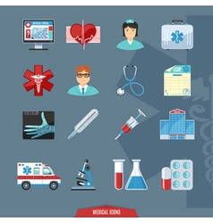 Medical and healthcare colorful icons vector