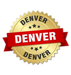 Denver round golden badge with red ribbon vector