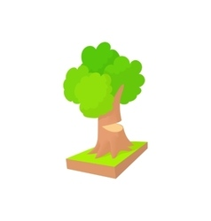 Tree to saw cut icon cartoon style vector