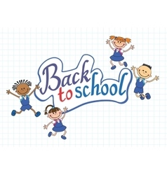 banner back to school boy girl pupil lettering vector image