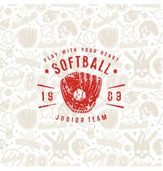 Baseball seamless pattern and emblem of softball vector