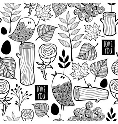 Black and white forest for coloring vector