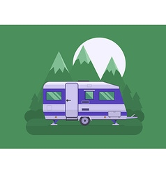 Camper trailer on national mountain park area vector