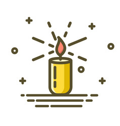 candle burn with fire realistic trendy linear vector image vector image