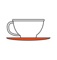 Color silhouette image cartoon porcelain cup in vector