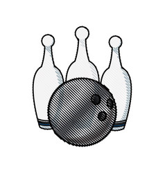 Drawing bowling ball pin game sport vector