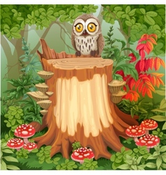 Fairy forest glade with cute owl sitting on stump vector