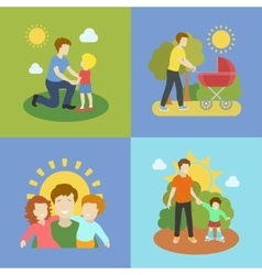 Fatherhood father playing with children vector image