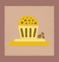 flat shading style icon coffee cake vector image