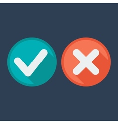 Flat style icons Check and cross marks vector image vector image