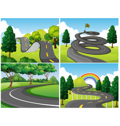 Four scenes of park and empty roads vector