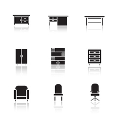 Furniture black icons set vector