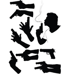 Hand With Gun vector image