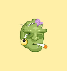 Head terrible facial expression of zombie smoking vector