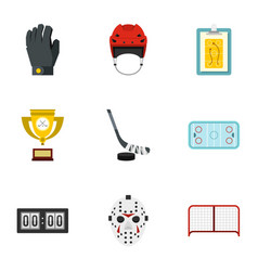 Hockey equipment icons set flat style vector