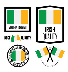 Ireland quality label set for goods vector