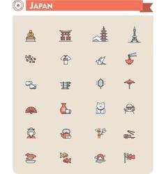 Japan travel icon set vector