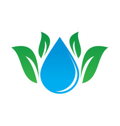 leaf waterdrop eco logo vector image