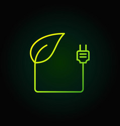 leaf with plug green icon vector image vector image