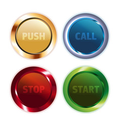 metal colorful round buttons vector image vector image