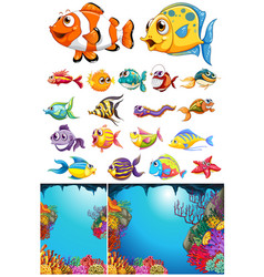 ocean scene and many sea animals vector image vector image