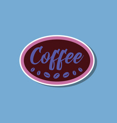 paper sticker on stylish background coffee logo vector image vector image