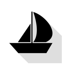 sail boat sign black icon with flat style shadow vector image vector image