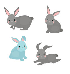 set of cute rabbits set of cute rabbits vector image