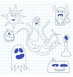 Set of doodle monsters icons vector image vector image