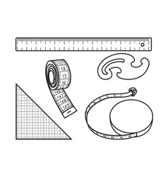 Sewing measure tools vector