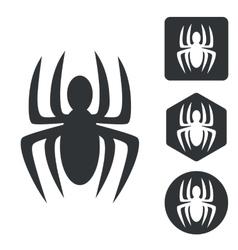 Spider icon set monochrome vector