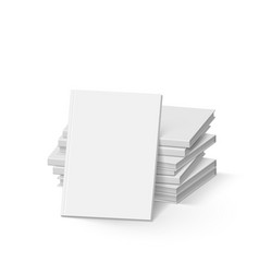 Stack of blank white books on white mockup vector