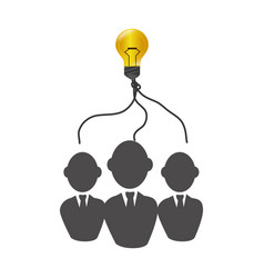 Teamwork with bulb light education icon vector