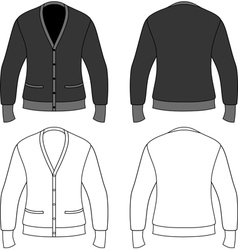 Template outline of a blank cardigan vector