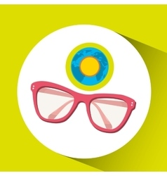 Vacation around world sunny sunglasses vector