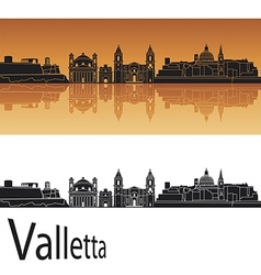 Valletta skyline in orange background vector