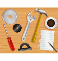 work tools and desk vector image vector image