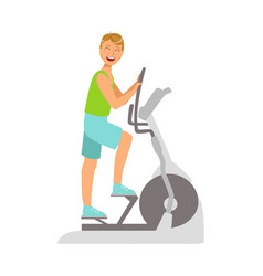 Young man working out using elliptical trainer vector
