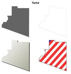Yuma county arizona outline map set vector