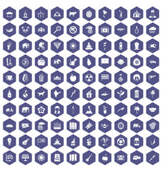 100 elephant icons hexagon purple vector