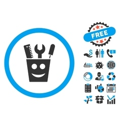 Tools smile flat icon with bonus vector