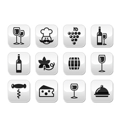 Wine buttons set - glass bottle restaurant food vector