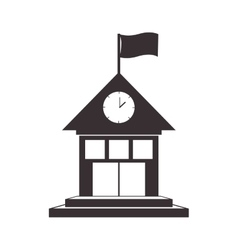 Black silhouette house with flag and clock vector