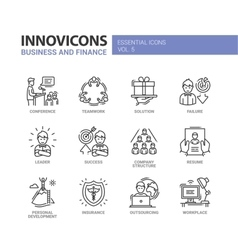 Business and fnance line design icons set vector image